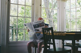 Negative Space Old Man Reading Newspaper Morning Sam Wheeler